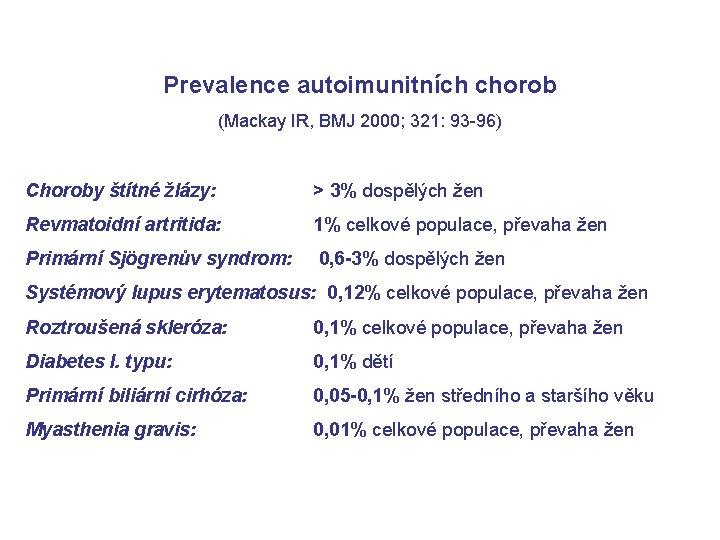 Prevalence autoimunitních chorob (Mackay IR, BMJ 2000; 321: 93 -96) Choroby štítné žlázy: >