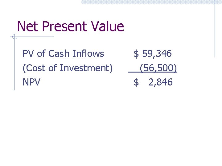 Net Present Value PV of Cash Inflows (Cost of Investment) NPV $ 59, 346