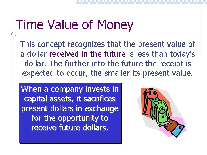 Time Value of Money This concept recognizes that the present value of a dollar