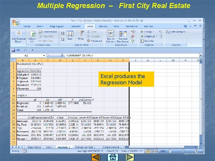 Multiple Regression – First City Real Estate Excel produces the Regression Model