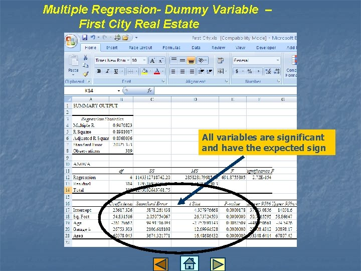 Multiple Regression- Dummy Variable – First City Real Estate All variables are significant and