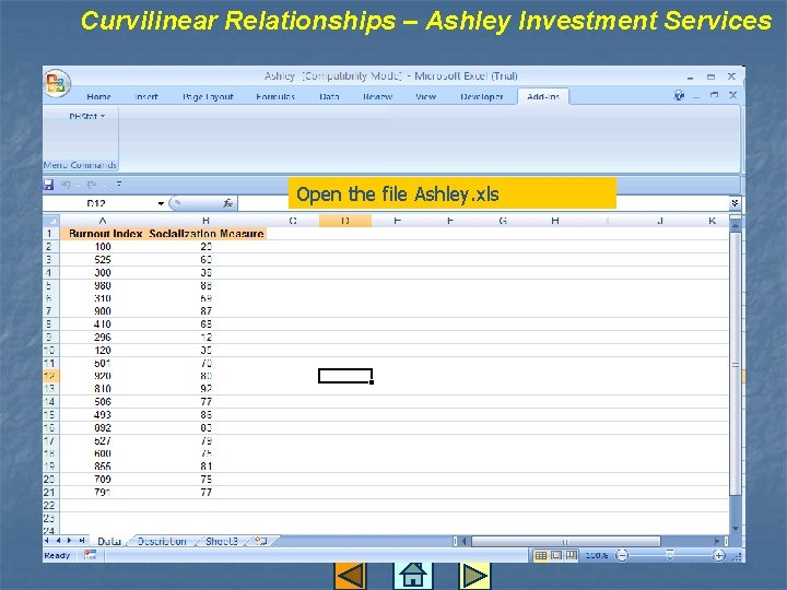 Curvilinear Relationships – Ashley Investment Services Open the file Ashley. xls