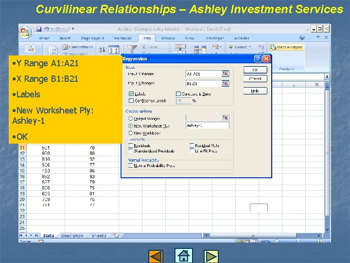 Curvilinear Relationships – Ashley Investment Services • Y Range A 1: A 21 •