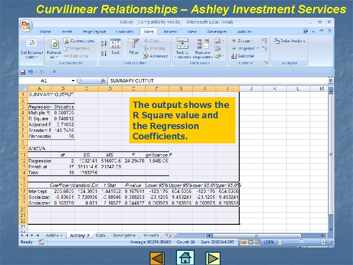 Curvilinear Relationships – Ashley Investment Services The output shows the R Square value and