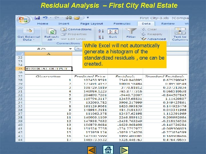 Residual Analysis – First City Real Estate While Excel will not automatically generate a
