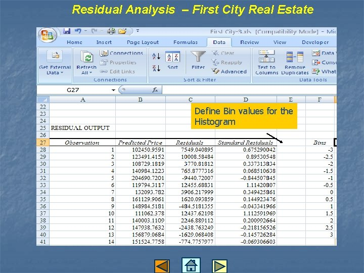 Residual Analysis – First City Real Estate Define Bin values for the Histogram