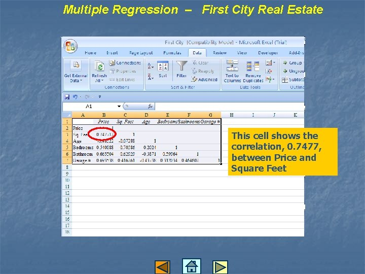 Multiple Regression – First City Real Estate This cell shows the correlation, 0. 7477,