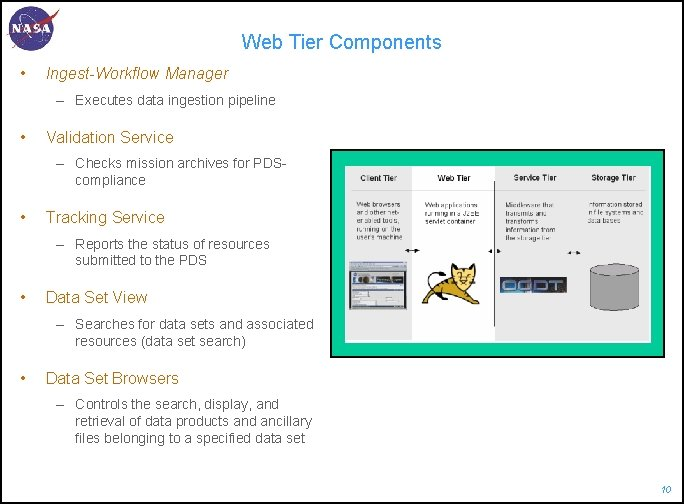 Web Tier Components • Ingest-Workflow Manager – Executes data ingestion pipeline • Validation Service