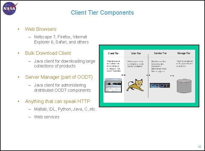 Client Tier Components • Web Browsers – Netscape 7, Firefox, Internet Explorer 6, Safari,