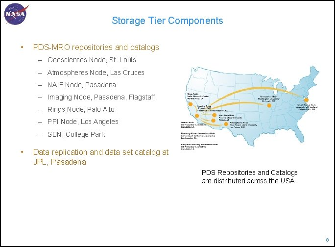 Storage Tier Components • PDS-MRO repositories and catalogs – Geosciences Node, St. Louis –