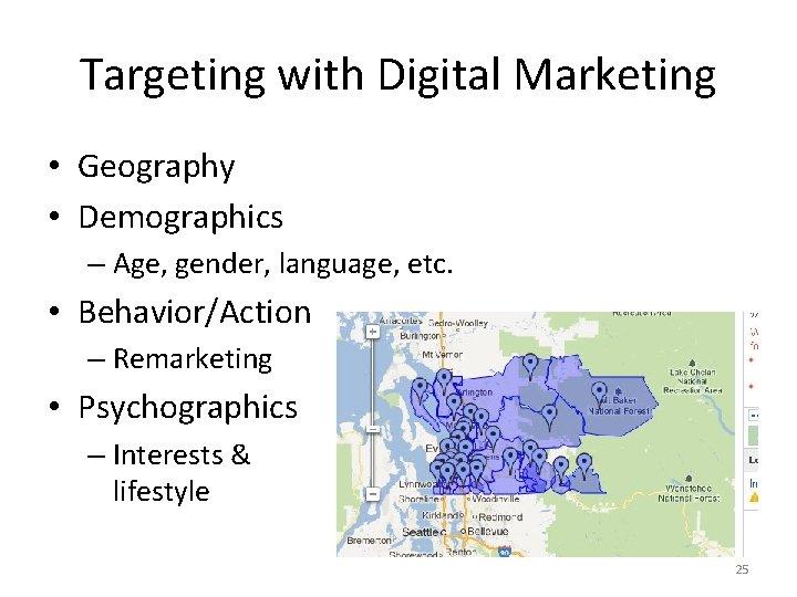 Targeting with Digital Marketing • Geography • Demographics – Age, gender, language, etc. •