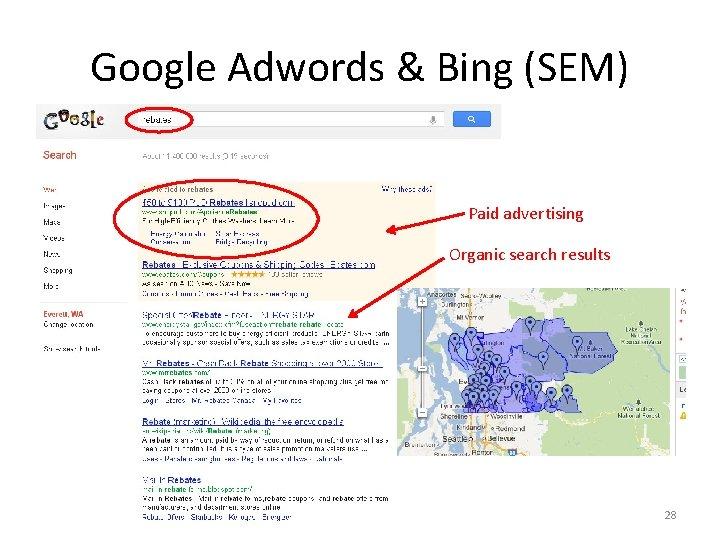 Google Adwords & Bing (SEM) Paid advertising Organic search results 28