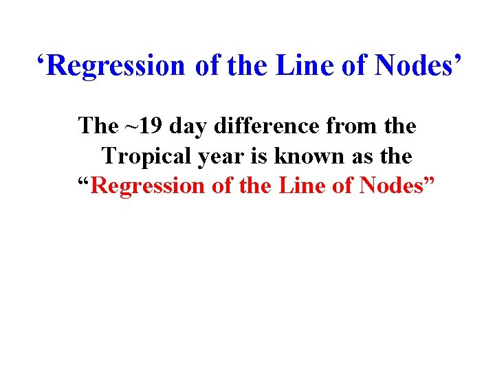 'Regression of the Line of Nodes' The ~19 day difference from the Tropical year