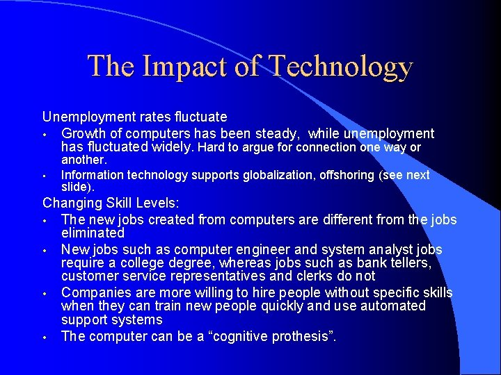 The Impact of Technology Unemployment rates fluctuate • Growth of computers has been steady,