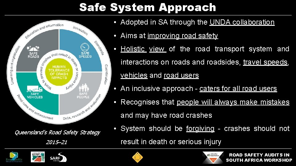 Safe System Approach • Adopted in SA through the UNDA collaboration • Aims at