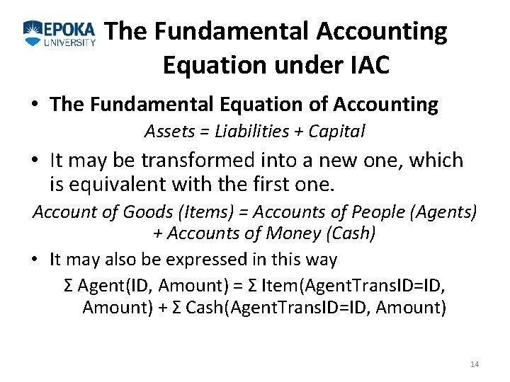 The Fundamental Accounting Equation under IAC • The Fundamental Equation of Accounting Assets =