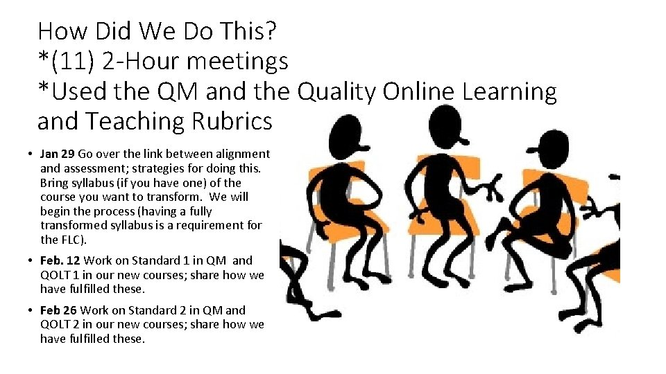 How Did We Do This? *(11) 2 -Hour meetings *Used the QM and the