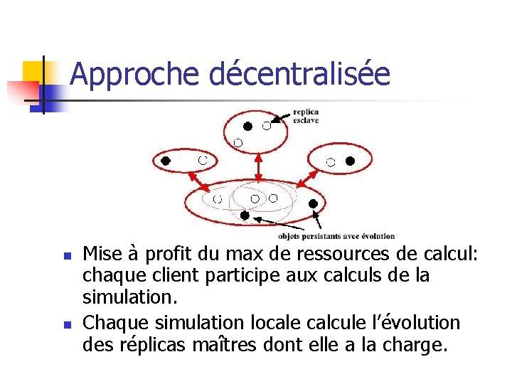 Approche décentralisée n n Mise à profit du max de ressources de calcul: chaque
