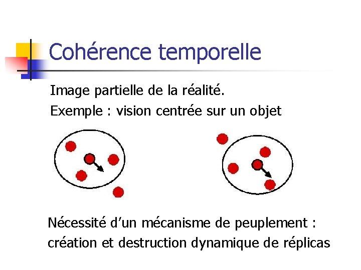 Cohérence temporelle Image partielle de la réalité. Exemple : vision centrée sur un objet
