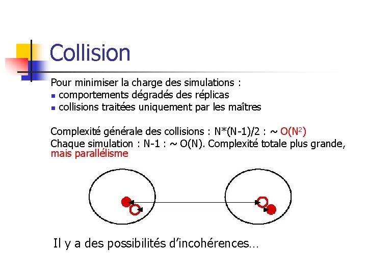 Collision Pour minimiser la charge des simulations : n comportements dégradés des réplicas n