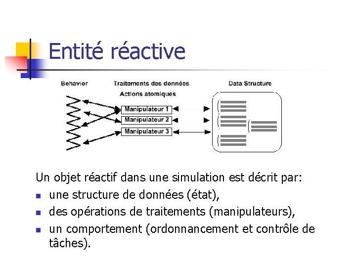 Entité réactive Un objet réactif dans une simulation est décrit par: n une structure