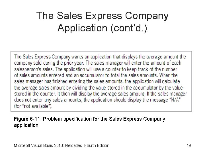 The Sales Express Company Application (cont'd. ) Figure 6 -11: Problem specification for the