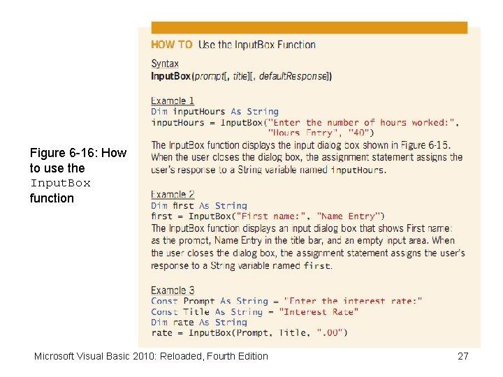 Figure 6 -16: How to use the Input. Box function Microsoft Visual Basic 2010: