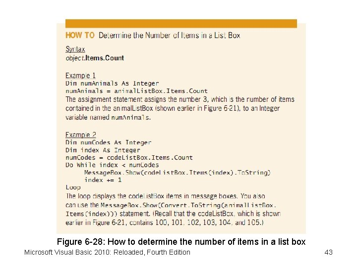 Figure 6 -28: How to determine the number of items in a list box