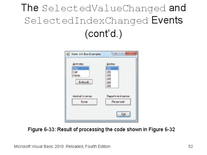 The Selected. Value. Changed and Selected. Index. Changed Events (cont'd. ) Figure 6 -33: