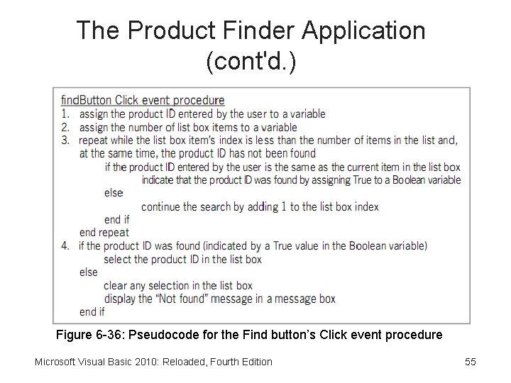 The Product Finder Application (cont'd. ) Figure 6 -36: Pseudocode for the Find button's