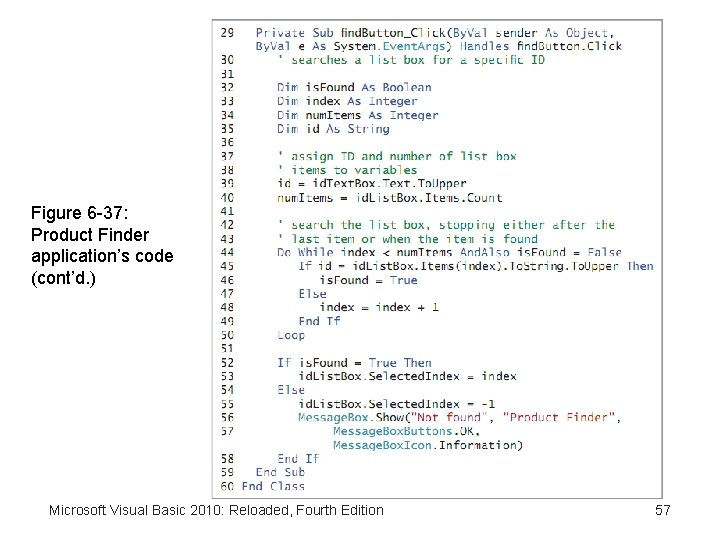 Figure 6 -37: Product Finder application's code (cont'd. ) Microsoft Visual Basic 2010: Reloaded,