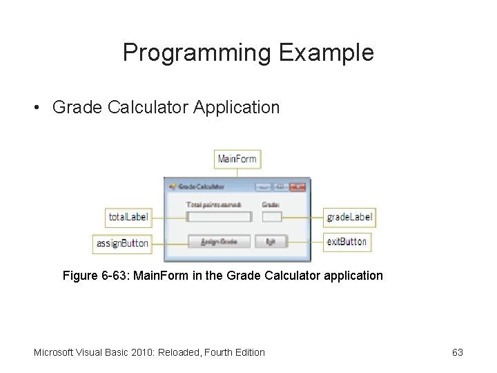 Programming Example • Grade Calculator Application Figure 6 -63: Main. Form in the Grade