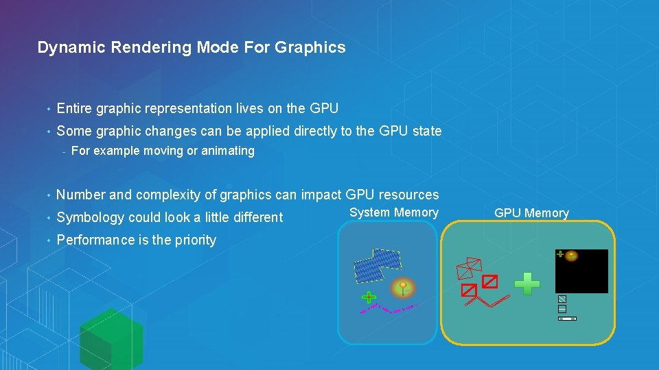 Dynamic Rendering Mode For Graphics • Entire graphic representation lives on the GPU •