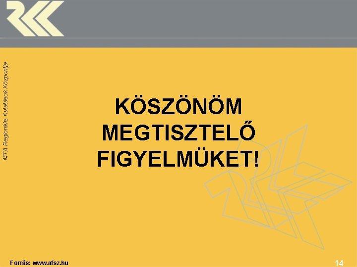 MTA Regionális Kutatások Központja KÖSZÖNÖM MEGTISZTELŐ FIGYELMÜKET! Forrás: www. afsz. hu 14