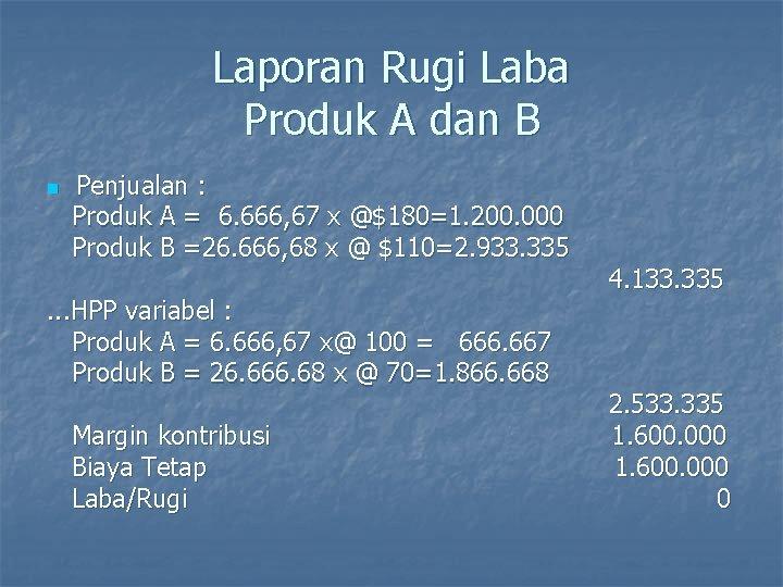 Laporan Rugi Laba Produk A dan B n Penjualan : Produk A = 6.