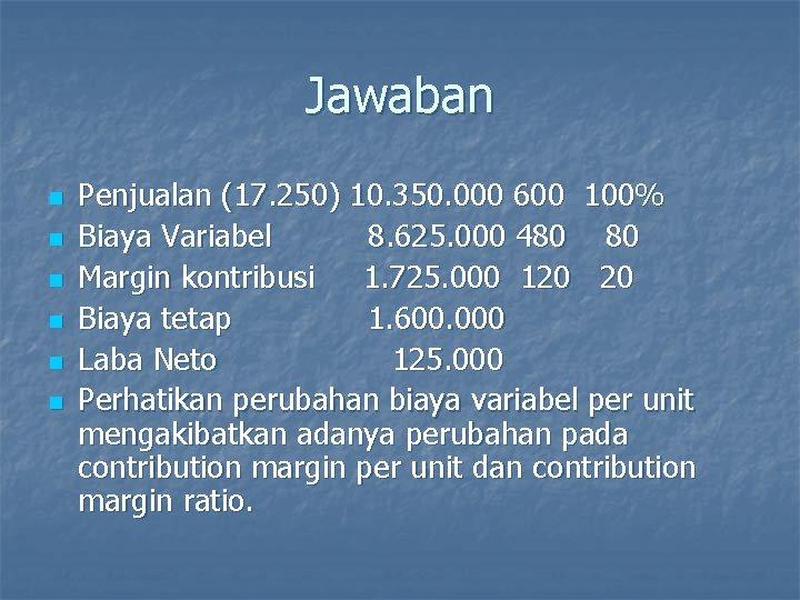 Jawaban n n n Penjualan (17. 250) 10. 350. 000 600 100% Biaya Variabel