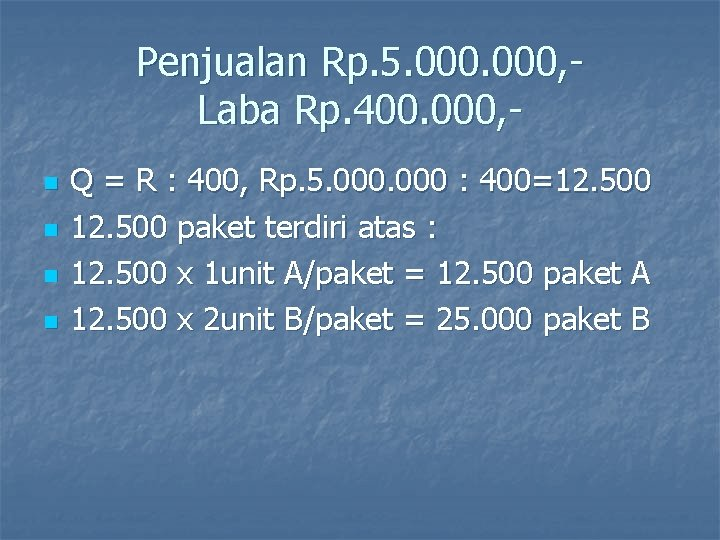 Penjualan Rp. 5. 000, Laba Rp. 400. 000, n n Q = R :