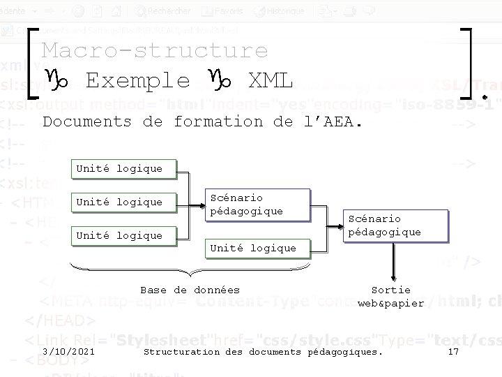 Macro-structure g Exemple g XML Documents de formation de l'AEA. Unité logique Scénario pédagogique