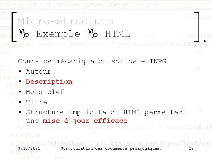 Micro-structure g Exemple g HTML Cours de mécanique du solide – INPG • Auteur