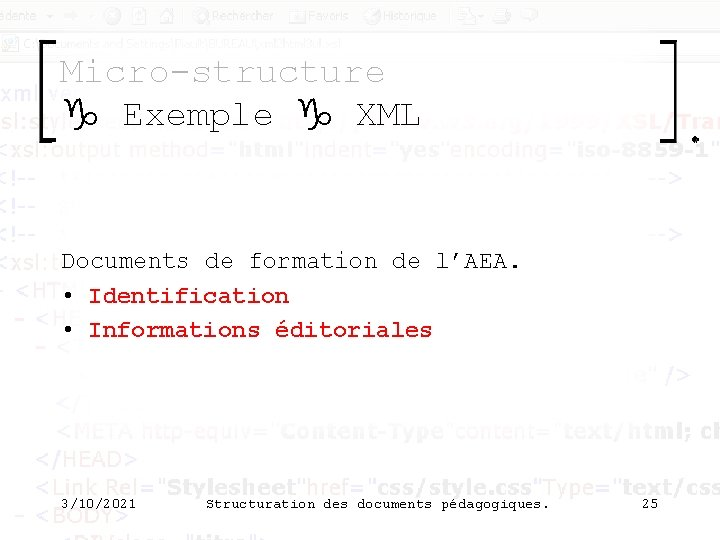 Micro-structure g Exemple g XML Documents de formation de l'AEA. • Identification • Informations
