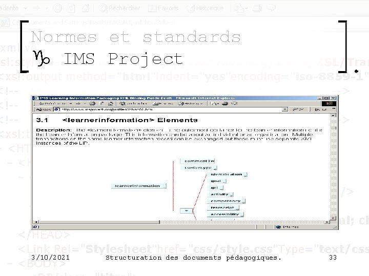 Normes et standards g IMS Project 3/10/2021 Structuration des documents pédagogiques. 33