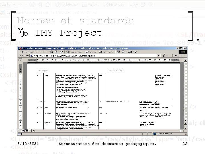 Normes et standards g IMS Project 3/10/2021 Structuration des documents pédagogiques. 35