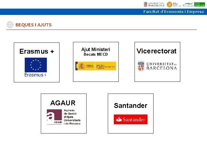 BEQUES I AJUTS Erasmus + AGAUR Ajut Ministeri Becats MECD Vicerectorat Santander