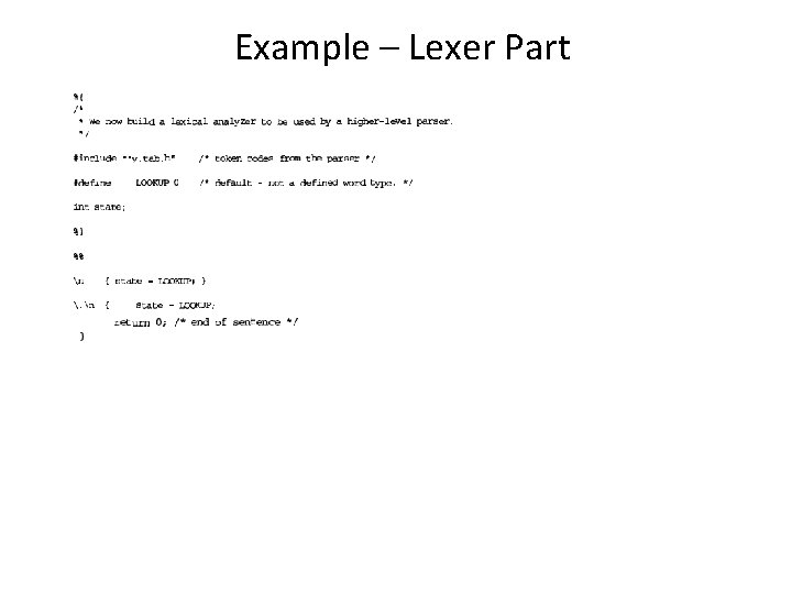 Example – Lexer Part