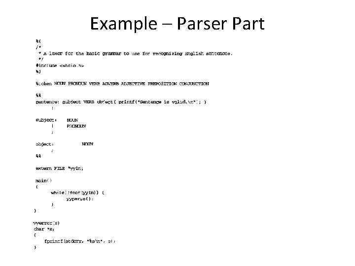 Example – Parser Part