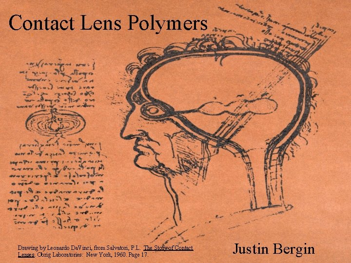 Contact Lens Polymers Drawing by Leonardo Da. Vinci, from Salvatori, P. L. The Story