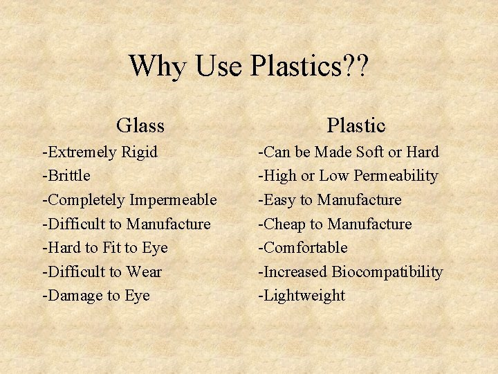 Why Use Plastics? ? Glass -Extremely Rigid -Brittle -Completely Impermeable -Difficult to Manufacture -Hard