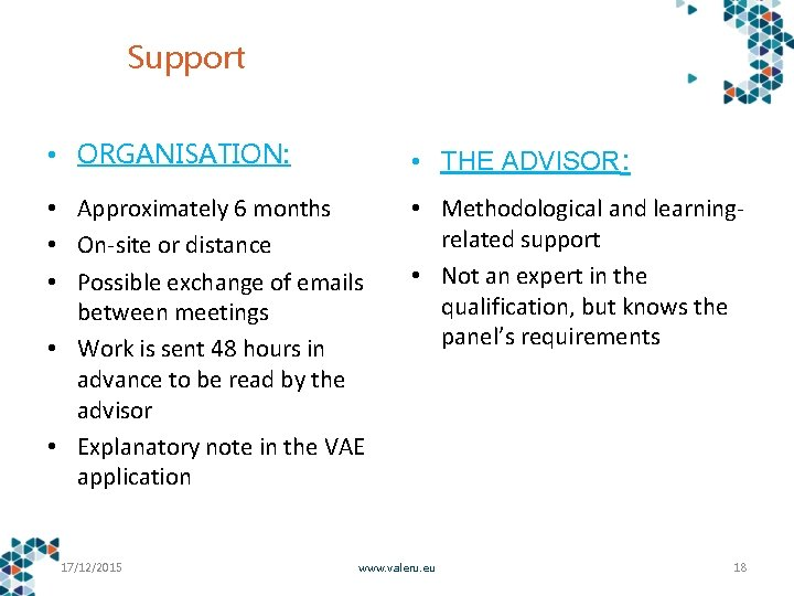 Support • ORGANISATION: • THE ADVISOR: • Approximately 6 months • On-site or distance