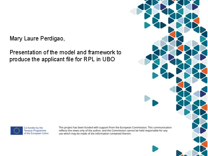 Mary Laure Perdigao, Presentation of the model and framework to produce the applicant file