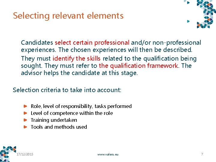 Selecting relevant elements Candidates select certain professional and/or non-professional experiences. The chosen experiences will